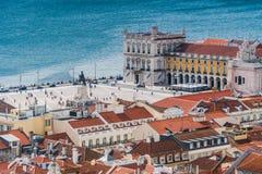 Hoogste mening van Praça do Comércio - Lissabon royalty-vrije stock foto's