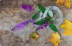 Hoogste mening van purpere bloemen in een glasvaas en gouden bladeren op houten achtergrond royalty-vrije stock fotografie