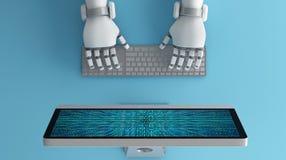 Hoogste mening van Robothanden die toetsenbord voor computermo gebruiken vector illustratie