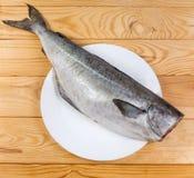 Hoogste mening van ruwe die koolvissen zonder hoofd, van schalen wordt schoongemaakt royalty-vrije stock foto