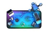 Hoogste mening van slimme toestellen, hommel, autonome voertuig en robot op slimme telefoon Royalty-vrije Stock Afbeelding