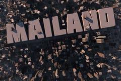 Hoogste mening van stedelijke stad in 3D Stock Afbeeldingen