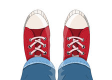 Hoogste mening van Tennisschoenen van hierboven Royalty-vrije Stock Foto
