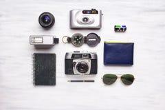 Hoogste mening van uitstekende camera en reispunten Royalty-vrije Stock Foto