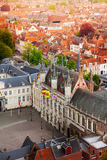 Hoogste mening van versterkte citadel Stadhuis, Brugge Royalty-vrije Stock Foto
