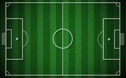 Hoogste mening van voetbalgebied of van het voetbalgebied groen gras Stock Foto