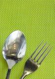 Hoogste mening van vork en lepel Royalty-vrije Stock Afbeeldingen