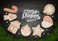Hoogste mening van Vrolijk Kerstmisconceptontwerp Kerstmiskroon met koekjes op houten achtergrond vector illustratie
