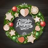 Hoogste mening van Vrolijk Kerstmisconceptontwerp Kerstmiskroon met koekjes op houten achtergrond stock illustratie