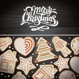 Hoogste mening van Vrolijk Kerstmisconceptontwerp Vakantiekoekjes op houten achtergrond stock illustratie