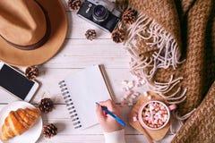 Hoogste mening van vrouwelijke handen die in notitieboekje schrijven Stillevendetails van reis royalty-vrije stock fotografie