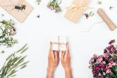 Hoogste mening van vrouwelijke handen met rood nagellak Royalty-vrije Stock Afbeeldingen