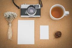 Hoogste mening van werkruimte hipster stijl met retro effect Royalty-vrije Stock Foto