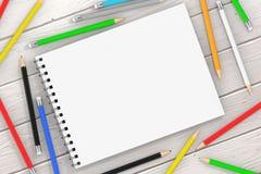 Hoogste Mening van Witte Spiraalvormige Document Dekking Art Book met Veelkleurig P Stock Foto's