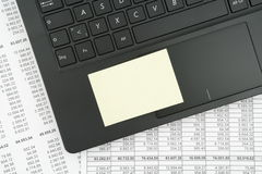 Hoogste mening van zwart geweven laptop toetsenbord Stock Foto