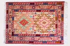 Hoogste menings alle bijzonderheden van een Perzische met de hand gemaakte kilimdeken die Th tonen Stock Foto