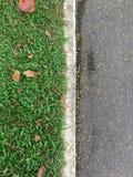 Hoogste menings groene die gras en Asfaltweg door witte concrete lijnen wordt gescheiden stock foto's