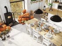 Hoogste menings noordse keuken in een flat het 3d teruggeven De bladeren & de pompoenen en een ceramisch hoofd van Turkije vormen Stock Foto