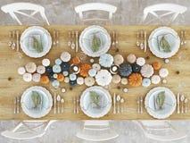 Hoogste menings noordse keuken in een flat het 3d teruggeven De bladeren & de pompoenen en een ceramisch hoofd van Turkije vormen Royalty-vrije Stock Afbeeldingen