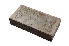 Hoogste menings oude houten doos op witte achtergrond royalty-vrije stock fotografie