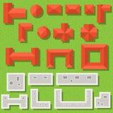 Hoogste menings rode daken en grijze daken vectorreeks royalty-vrije illustratie