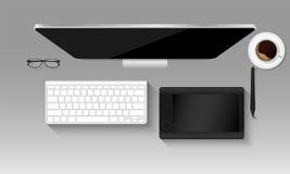 Hoogste meningsmodel van grafische ontwerperwerkplaats, Tablet, Toetsenbord, Stock Fotografie