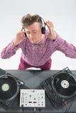 Hoogste meningsportret van en DJ die mengen zich spinnen Royalty-vrije Stock Fotografie