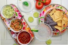 Hoogste meningsspaanders, salsa en margaritas royalty-vrije stock fotografie
