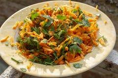 Hoogste meningsspruit van verse het kijken wortelsalade op plaat onder mooi zonlicht stock foto's