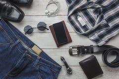 Hoogste meningstoebehoren om met mensenkleding te reizen Stock Afbeelding