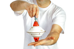 Hoogste stuk speelgoed in handen Royalty-vrije Stock Fotografie
