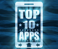 Hoogste tien appstekst op het telefoonscherm Royalty-vrije Stock Afbeeldingen