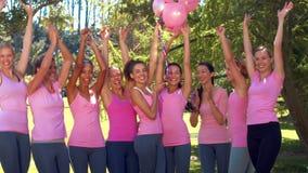 In hoogte - de glimlachende vrouwen van het kwaliteitsformaat in roze voor de voorlichting van borstkanker stock video