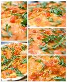 hoogtepunt 5 - rangschik foto's van klassieke Italiaanse pizza royalty-vrije stock afbeelding