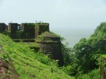 Hoogtepunt van het Goa het oude fort van groen Stock Afbeeldingen