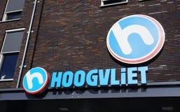 Hoogvliet, the Netherlands. Berkel en Rodenrijs, the Netherlands. October 2018. Brand and logo of Hoogvliet supermarket in the Netherlands stock images