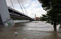 Hoogwater op Donau in Bratislava, Slowakije Royalty-vrije Stock Foto