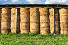 Hooibergen in schuur bij het landbouwlandbouwbedrijf Stock Afbeelding