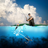 Hook. Close-up shut of a fish hook under water Royalty Free Stock Image