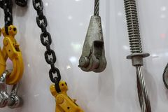Hook , chain and steel wire. Set for crane stock photography