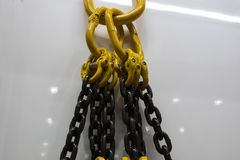 Hook , chain and steel wire. Set for crane royalty free stock image