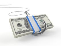 Hook with dollars. On white background Royalty Free Stock Photo