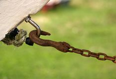Hook and Eye. Hook and chain in tension Stock Photography
