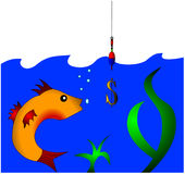The Hook from gilded dollar. Caughts the fish Stock Images