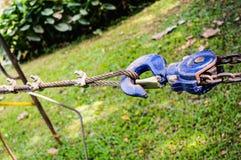 Hook hanging blue on nature background. Thailand stock image