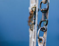 Hook hanging on  flag rope Royalty Free Stock Images