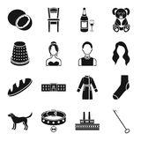 Hook, Interior, drink and other web icon in black style.. Hook, Interior, drink and other  icon in black style. food, sewing, atelier icons in set collection Stock Image