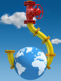 On the hook. Oil and Gas Dependence. Conceptual illustration Stock Image