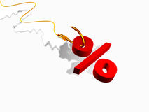 Hook with percent sign Royalty Free Stock Photos