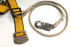 Hook and rope with belt of Safety Equipment Stock Photo